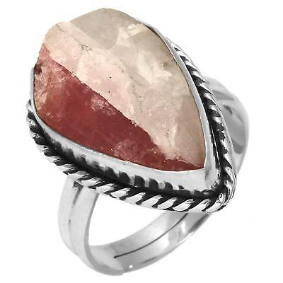 Pink Tourmaline In Quartz Adjustable 925 Sterling Silver Ring Size M Wq22279