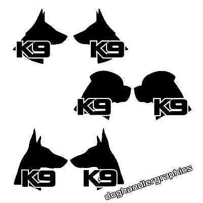 2 x K9 DOGS VEHICLE STICKER DECALS  SIZES, REFLECTIVE & FLUORESCENT OPTIONS