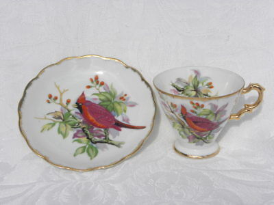 Vintage Nikoniko Hand Painted China Cup & Saucer with a Red Cardinal on a Branch