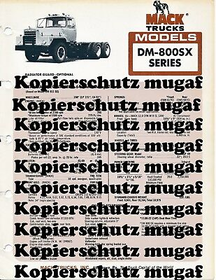 Original Mack DM-800SX Series Truck Brochure Prospekt Dumper Mixer heavy duty