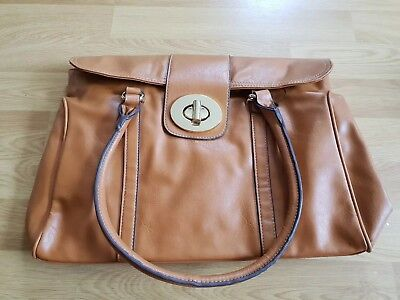 Oasis Tan Tote Handbag with Gold Clasp - Brand New with tags