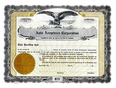 Auto Acceptance Corporation of Wisconsin - early 1900's stock certificate