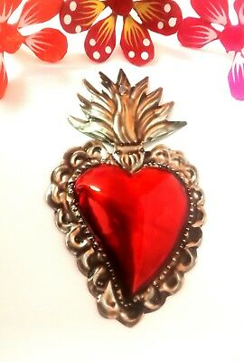 Authentic Mexican Tin Folk Art Classic Napoli Repoussed Flaming Heart Milagro