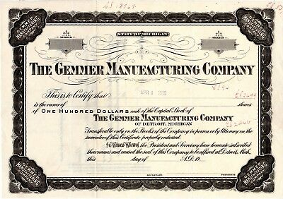 The Gemmer Manufacturing of Detroit - Printers Proof Certificate - Unique - Rare