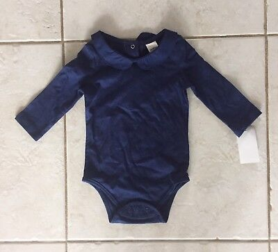 New OshKosh Navy Blue Peter Pan Collar Shirt Top Long Sleeve NWT Girls 24 Months
