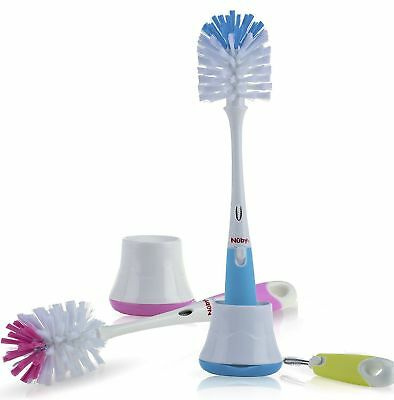Nuby Bottle Accessories & Nipple Brush with stand is a 2-in-1 brush.