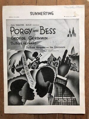 Vintage Black Americana Sheet Music Porgy and Bess Summertime by George Gershwin