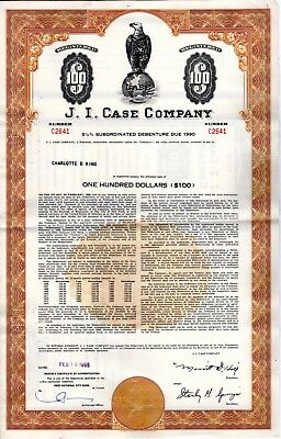 J.I. Case Company -Agriculture and Construction -1960-1970's Stock Certificate