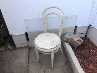 Vintage Retro Deco Antique Shabby Chic Bentwood Timber Chair Patina Cream
