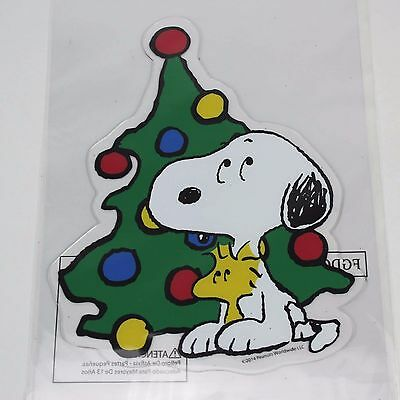 snoopy woodstock christmas tree window cling peanuts charlie brown decoration - Snoopy And Woodstock Christmas