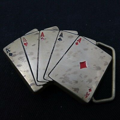 Vintage Playing Cards Gambling Card Game Five Aces Solid Brass Belt Buckle