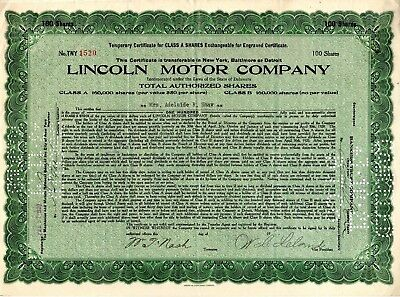 Lincoln Motor Company 1920 Stock Certificate - green - folds - small tears