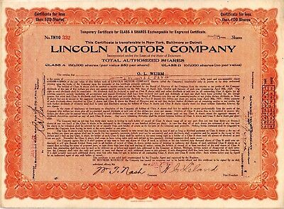 Lincoln Motor Company 1920 Stock Certificate - folded but - excellent condition