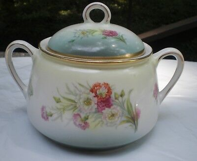 Vintage Small Soup Sauce Tureen Floral Pattern Gold Accents Hand Painted Germany