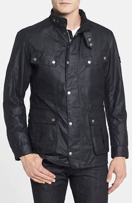 Barbour International Duke Men's Black Waterproof Waxed Cotton Jacket Size XL
