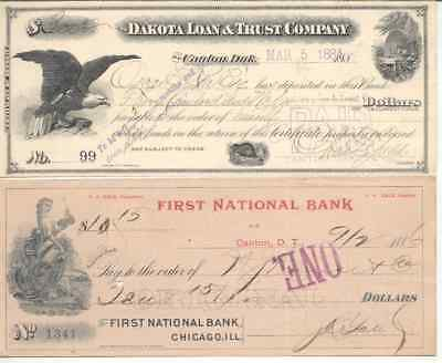 2 Old Checks 1884 - 1886 See Pictures