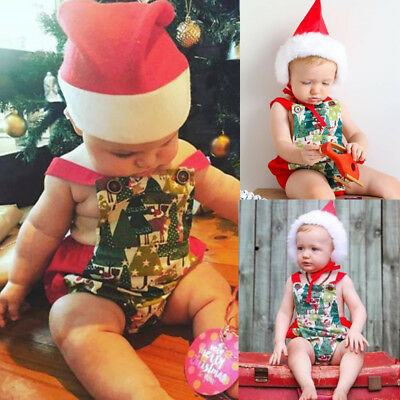 Newborn Baby Boy Girl Christmas Santa Claus Costume Outfit Xmas Romper Dress Up