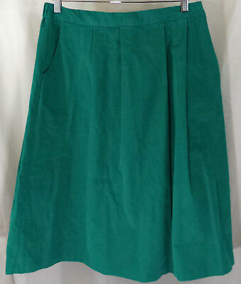 Vintage Truly Yours Women's Corduroy Skirt - Plus Size 20W - Green Pleated Retro