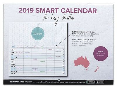 2019 Smart Calendar Family Organiser MINIMAL DESIGN 100% Aussie made