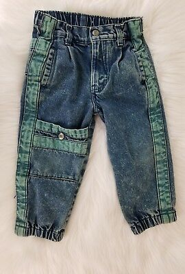 Vintage Little Levi's Blue Green Denim Jeans Toddler Sz 4T Made in USA