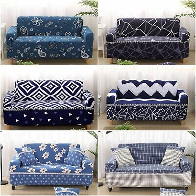 Stretch Blue Sofa Cover Removable Lounge Couch Slipcover Washable 1/2/3/4 Seater