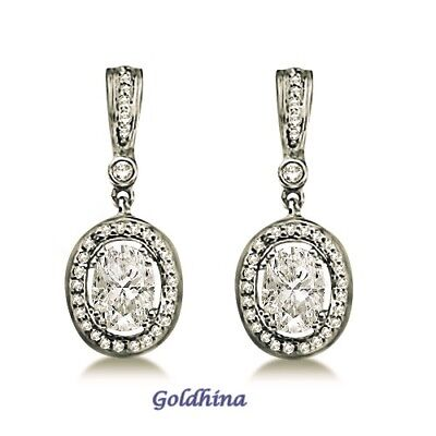 Oval Shaped Moissanite & Round Diamond Earring Solid Gold and 925Sterling Silver