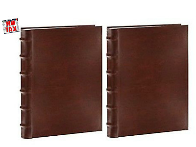Photo Album Sewn Bonded Leather Bi Directional Albums Hold 300 Photos Each Brown