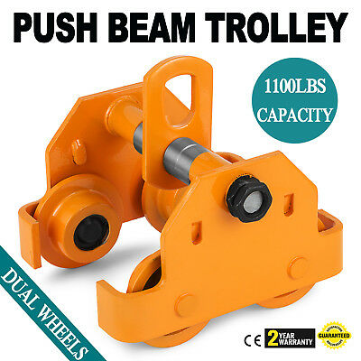 1/2 Ton Push Beam Track Roller Trolley Overhead Dual Wheels Solid Steel Updated