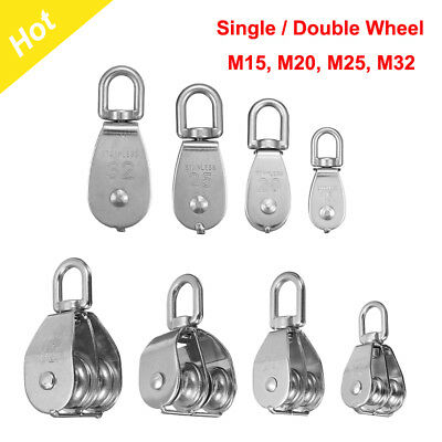 M15-32 Stainless Steel Single Double Wheel Lifting Rope Swivel Pulley Block Rope