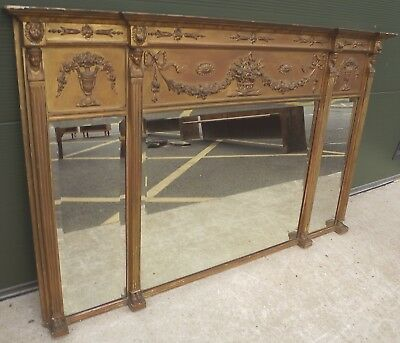 Antique Regency Egyptian Neoclassical Gilt-Framed Decorative Overmantle Mirror