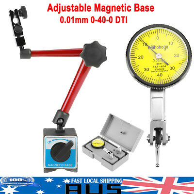Precision Dial Test Indicator Gauge Scale + Flexible Magnetic Base Holder Stand