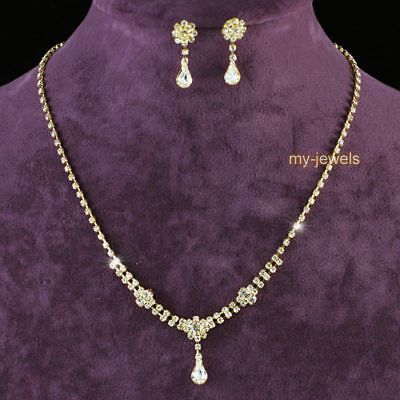 Bridal Wedding Bridesmaid Clear Crystal Gold Plated Necklace Earrings Set S1055