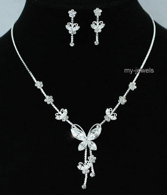 Butterfly Bridal Wedding Bridesmaid Prom Party Necklace Earrings Set S1077