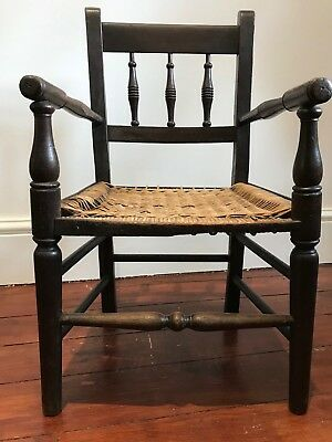 Antique 19th Century Georgian Antique Oak Childs Spindle Back Country Chair