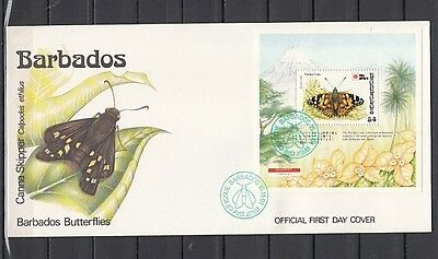 Barbados, Scott cat. 811. Painted Lady Butterfly s/sheet on a First day cover.