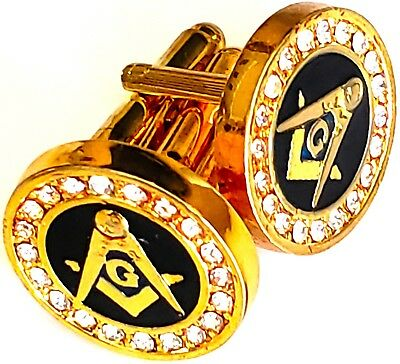 Masonic Cufflinks Cuff Links Square & Compass Black Bass RHINESTONES
