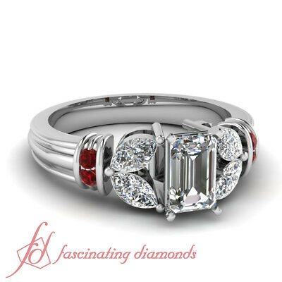 Ruby Gemstone And Marquise Diamond Rings With Emerald Cut Center 1.50 Carat GIA