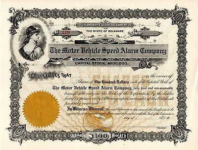 The Motor Vehicle Speed Alarm Company early 1900's unissued Stock Certificate