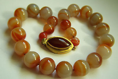 "Stunning Vintage Chinese Large Natural Agate Carnelian Necklace 21"" 225.8 g"