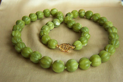 """Amazing Vintage Chinese Carved Nephrite Jade Necklace 81.5 g  21"""""""