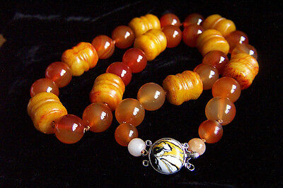 Stunning Chinese Large Vintage Rustic Red Jade & Carnelian Necklace 228.5g 24.5""