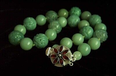 Fantastic Sterling Antique Chinese Carved Jade Necklace