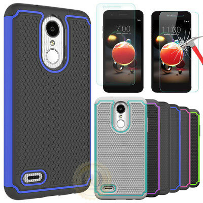 For LG Aristo 2, LG Zone 4 Case Hybrid Armor Shockproof Cover + Screen Protector