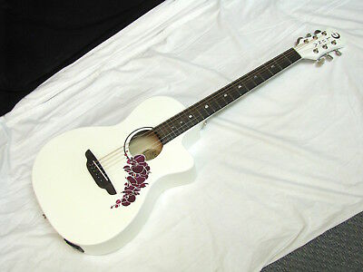 LUNA Flora Orchid-Classic White acoustic electric GUITAR - Purple Flower Inlay