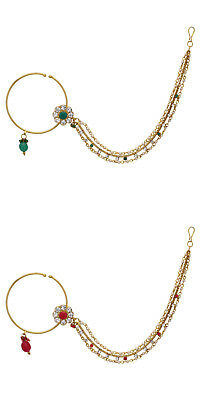 Jwellmart Indian Gold Plated Bridal Bollywood Wedding CZ 3 Chain Nose Ring Nath