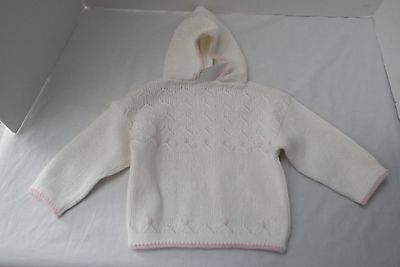 vtg hand knit Portugal newborn baby girl hoodie sweater back zipper embroid NEW