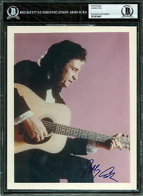 Johnny Cash Authentic Signed 8x10 Photo Autographed BAS Slabbed