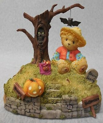 "Cherished Teddies ""Halloween's a Boo-tiful Thing"" Figurine with Eerie Sound n657"