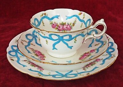 "Wileman Foley /shelley # 7733 ""ribbons & Roses"" Porcelain Tea Trio 1902 Bouquet"