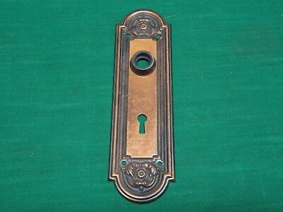 Vintage door knob key hole back plate. Copper colored tin.